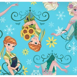 "Disney Frozen Fever Sisters Sunflowers, Aqua, Fleece, 59/60"" Width, Fabric by the Yard"