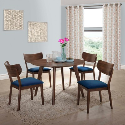 5pc Rosie Dining Set with Chairs Walnut Brown/Blue - Picket House Furnishings