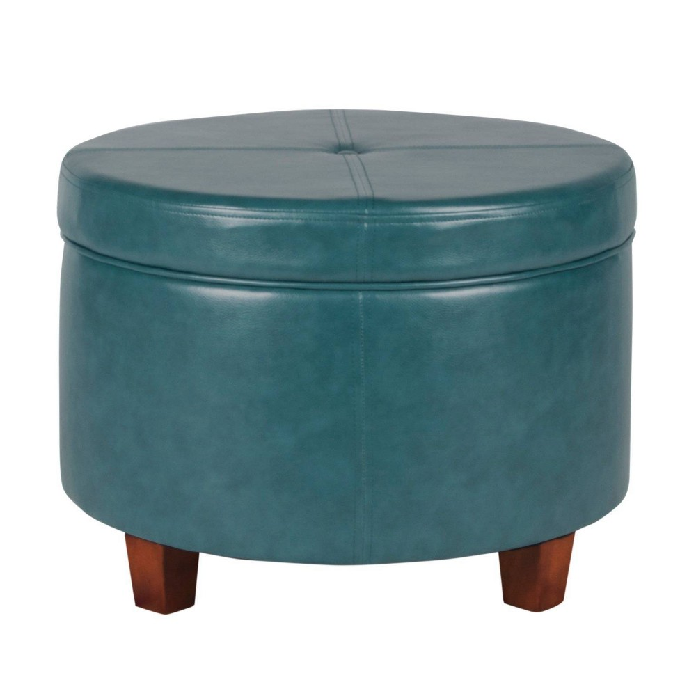 Upholstered Wooden Ottoman With Single Button Tufted Lift Top Storage Blue Benzara