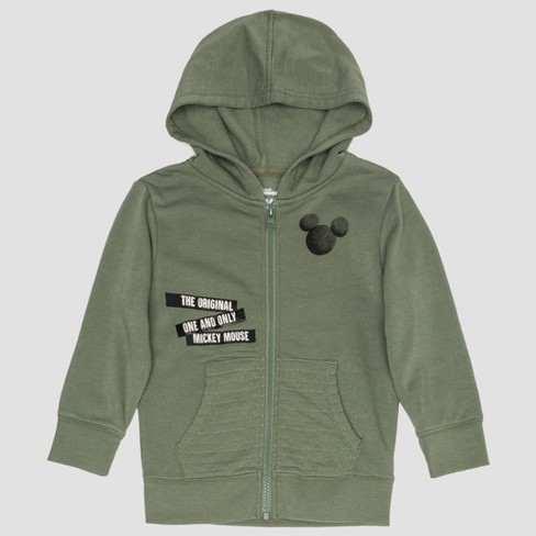 Toddler Boys' Mickey Mouse Mickey Tape Zipper Hooded Fleece Jacket - Green - image 1 of 2