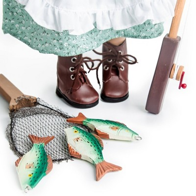 The Queen's Treasures 18 Inch Doll Fishing Adventure Accessories, Pole, Net, Wood Creel, Pail, 3 Fish