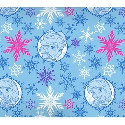"Disney Frozen Winter Magic Sisters Papercut Badges, Blue, 100% Cotton, 43/44"" Width, Fabric by the Yard"