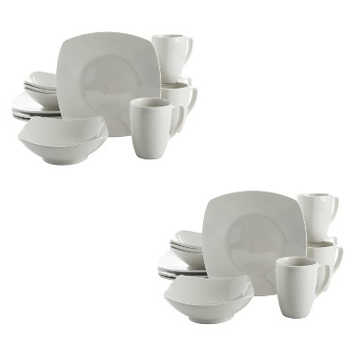 Gibson Home Zen Buffetware Versatile 12 Piece Square Dinnerware Dish Set with Multi Sized Plates, Bowls, and Mugs, White (2 Pack)