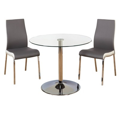 3pc Nora Dining Set Gray/White - Buylateral