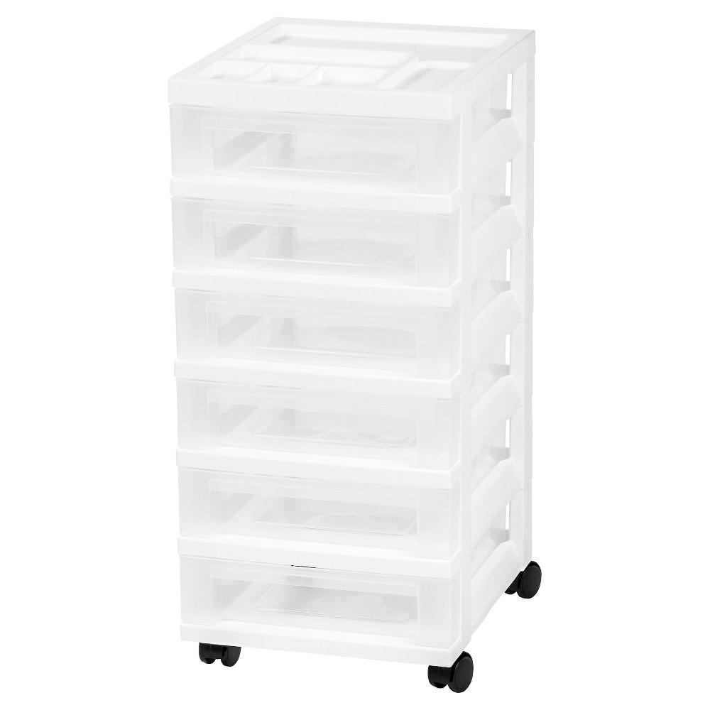 Iris 6 Drawer Rolling Storage Cart, White