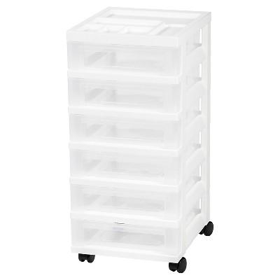 Captivating IRIS 6 Drawer Rolling Storage Cart, White