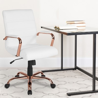 Flash Furniture Mid-Back LeatherSoft Executive Swivel Office Chair with Chrome Base and Arms