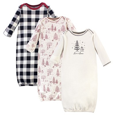 Touched by Nature Baby Organic Cotton Long-Sleeve Gowns 3pk, Winter Woodland