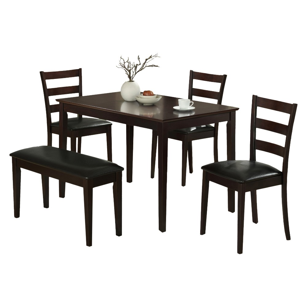 Image of Dining Set - 5 Piece - Bench and 3 Chairs - Cappuccino - EveryRoom, Beige