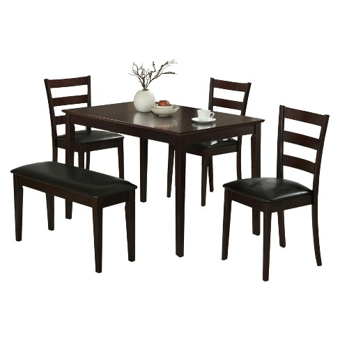 Excellent Dining Set 5 Piece Bench And 3 Chairs Cappuccino Everyroom Onthecornerstone Fun Painted Chair Ideas Images Onthecornerstoneorg