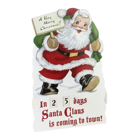 Countdown To Christmas Sign.Northlight 18 25 Vintage Style Glittered Santa Claus Countdown To Christmas Rotating Number Sign