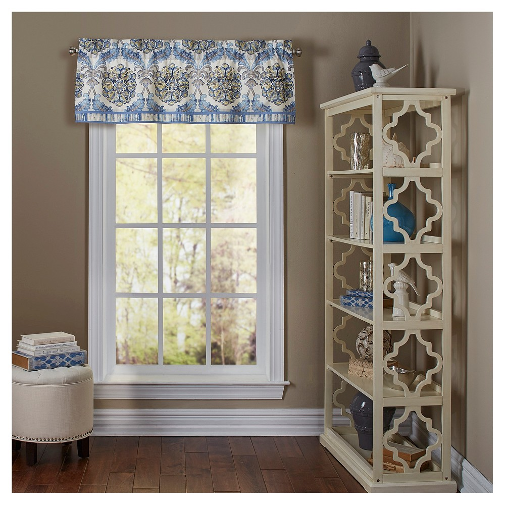Waverly Window Valance Blue/Yellow Medallion Floral