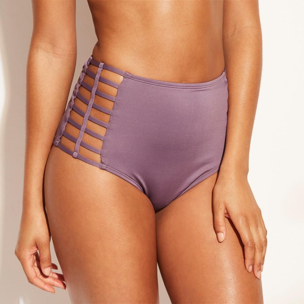 Women's Caged Side High Waist Bikini Bottom - Shade & Shore Purple Steel M