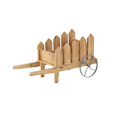 Traditional Wood and Iron Picket Fence Flower Cart Planter Brown - Olivia & May