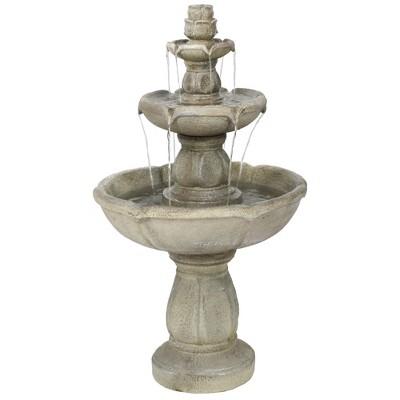 """35"""" Birds' Delight 3-Tier Outdoor Water Fountain - Sunnydaze Decor"""