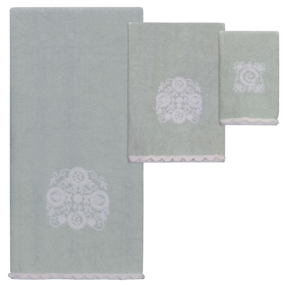 Image of Boho Bath/Hand/Fingertip Towel 6pc Set Light Blue/White - Creative Bath