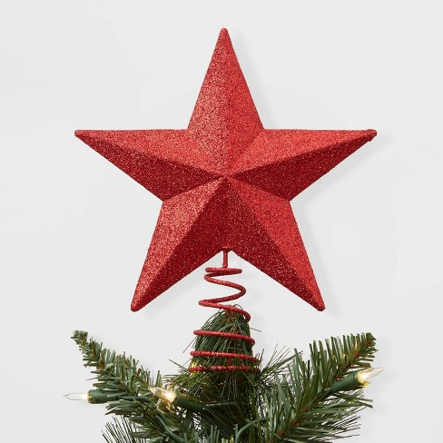 Christmas Tree.Unlit Metal Glitter Star Christmas Tree Topper Red Wondershop