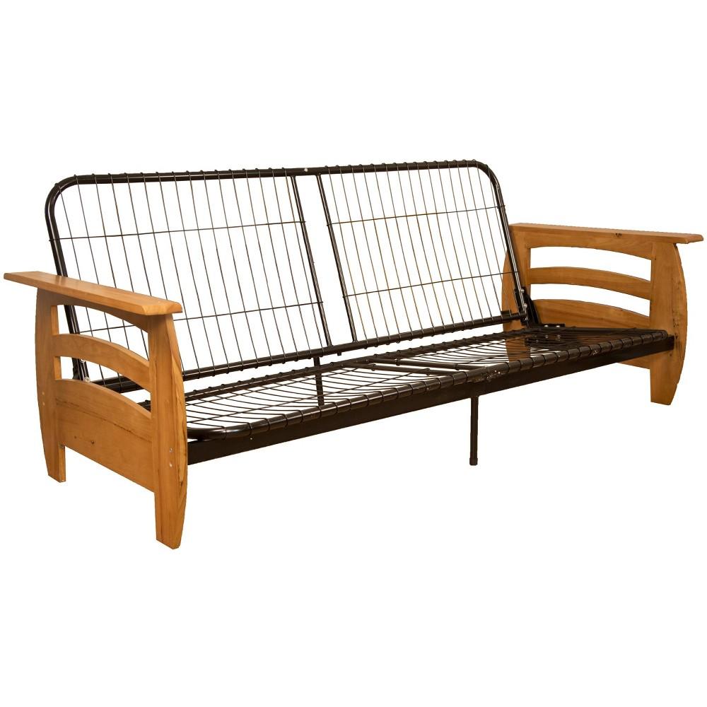 Savannah Futon Sofa Sleeper Bed Frame - Epic Furnishings, Pecan Finish Wood Arms