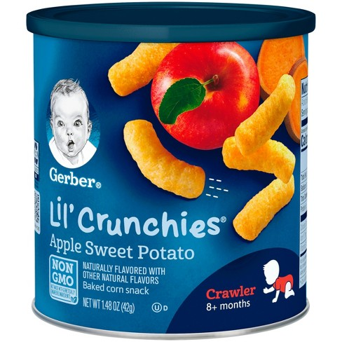 Gerber Lil' Crunchies Baked Whole Grain Corn Snack Apple and Sweet Potato - 1.48oz - image 1 of 7