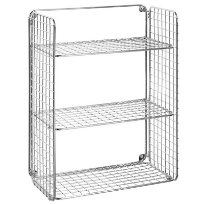 mDesign Decorative Metal Storage Organizer Shelf, 3 Levels - Wall Mount