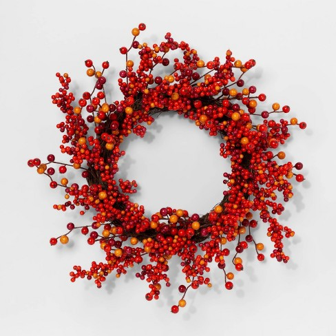 """17"""" Artificial Fall Berry Wreath Orange - Threshold™ - image 1 of 1"""