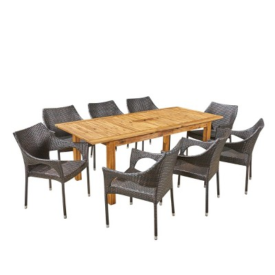 Damon 9pc Wood & Wicker Expandable Dining Set - Natural/Brown - Christopher Knight Home