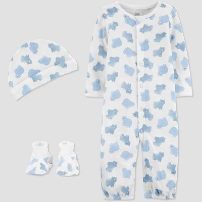 Baby Boys' 3pc Cloud Converter Nightgown - Just One You® made by carter's Blue Newborn