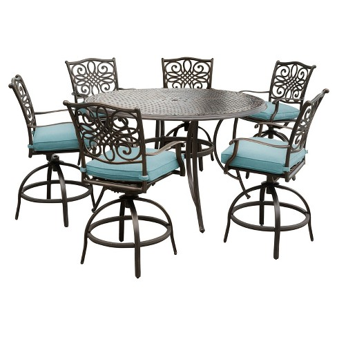 Traditions 7pc Round Metal Patio High Dining Set - Blue - Hanover - image 1 of 7