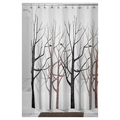 interDesign Forest Shower Curtains - Gray/Black