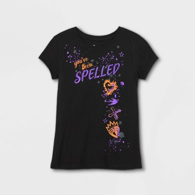Girls' Descendants You've Been Spelled Short Sleeve Graphic T-Shirt - Black