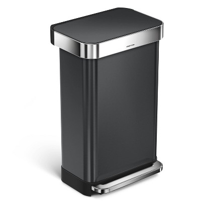 simplehuman 45L Rectangular Stainless Steel Step Can - Black
