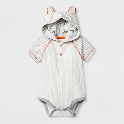 Baby Boys' Critter Hooded Short Sleeve Bodysuit & Jogger Set - Cat & Jack™ Gray 3-6M