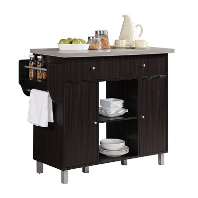 Kitchen Island with Spice Rack and Towel Holder - Hodedah