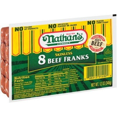 Nathan's Famous Skinless Beef Franks - 12oz/8ct