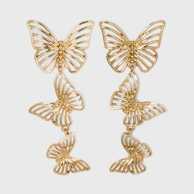 SUGARFIX by BaubleBar Gold Butterfly Drop Earrings - Gold