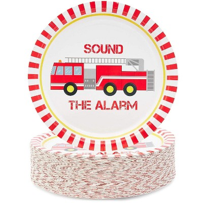 "Blue Panda Fire Truck 80-Pack Disposable Paper Plates 9"" Kids Birthday Party Supplies"