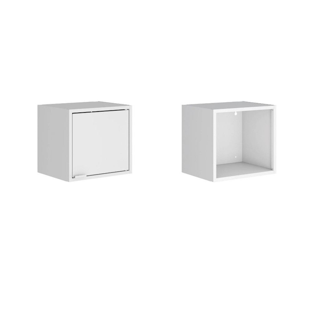"Image of ""13.77"""" Set of 2 Smart Floating Cabinet and Display Shelf White - Manhattan Comfort"""