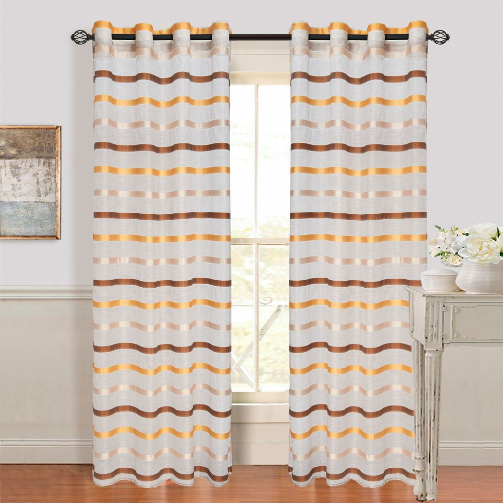 Yorkshire Home Arla Grommet Curtain Panel - Coffee/Yellow (Brown/Yellow) (54