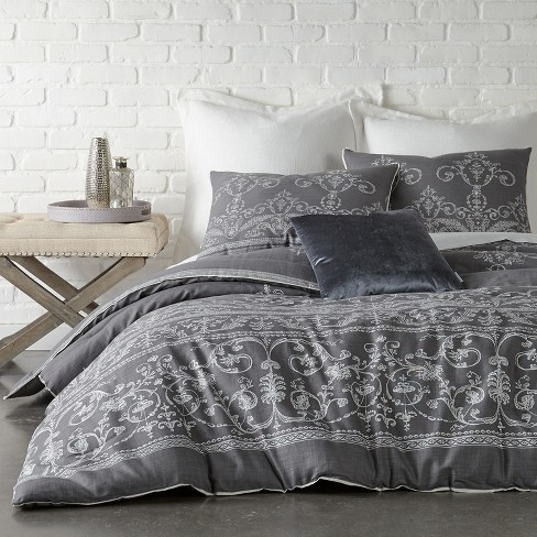 Dark Gray Vintage Gate Duvet Cover Set (Queen) 3pc - The Industrial Shop - image 1 of 3