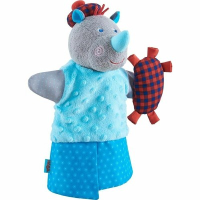 HABA Rhino Musical Glove Puppet with Squeaking Bagpipe