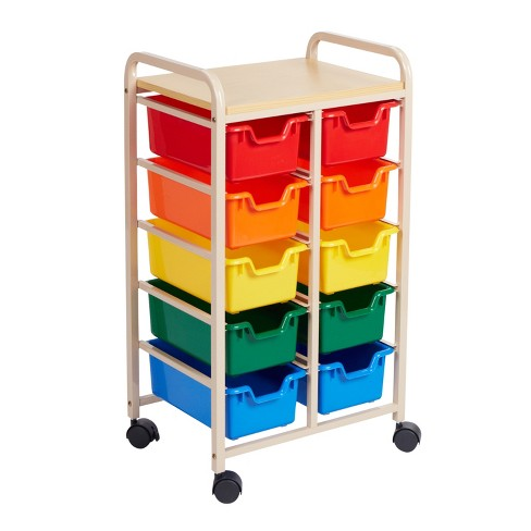 ECR4Kids Mobile Storage Organizer with 10 Bins, Sand with Assorted Color Drawers - image 1 of 3