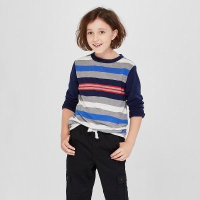 Boys' Long Sleeve Stripe T-Shirt - Cat & Jack™ Navy/Gray S