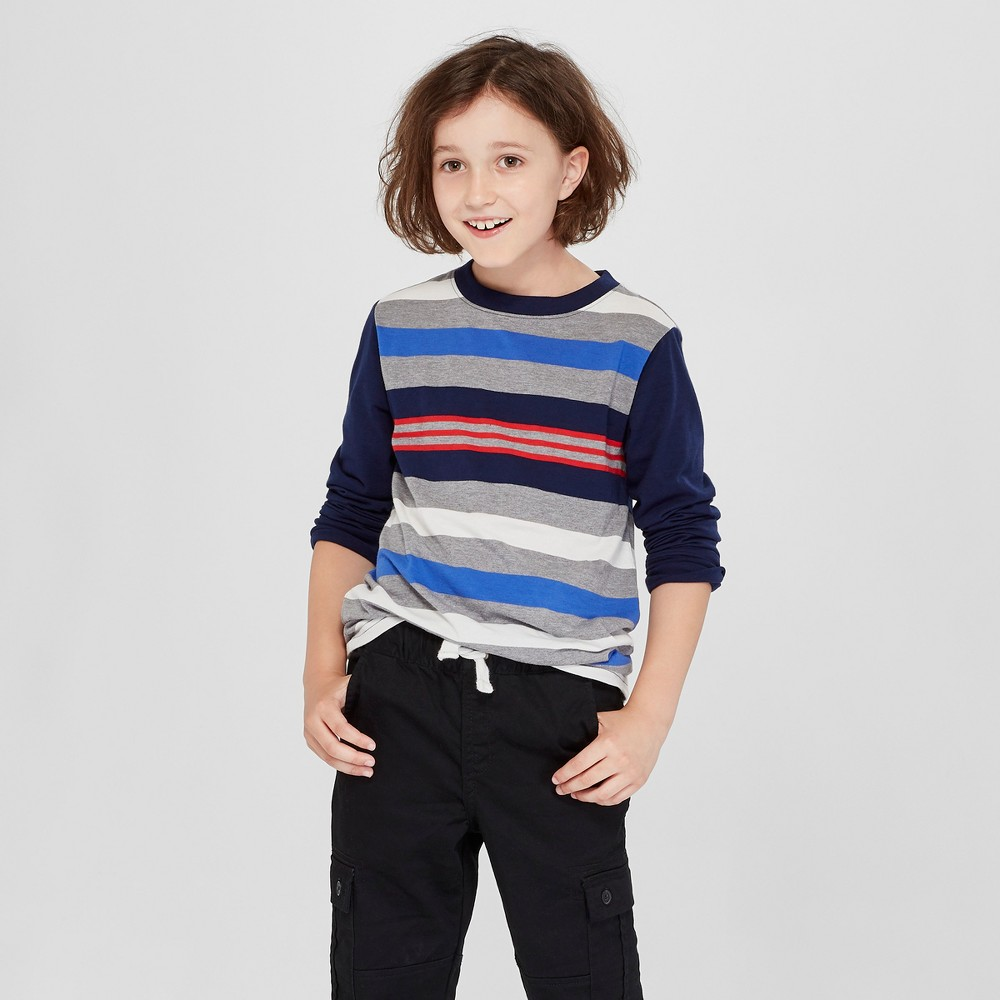 Boys' Long Sleeve Stripe T-Shirt - Cat & Jack Navy/Gray L, Blue