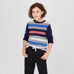 4e058700 Boys' Long Sleeve Stripe T-Shirt - Cat & Jack™ Navy/Gray