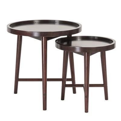 Set of 2 Bowdie Nesting Tables Dark Brown