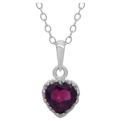 Tiara Sterling Silver Heart-cut Birthstone Crown Pendant