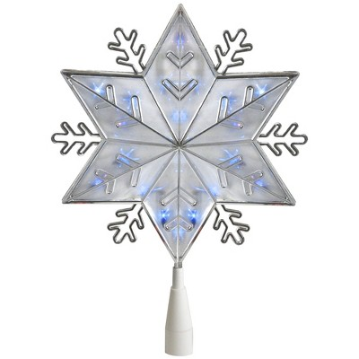 """Northlight 10"""" Lighted Silver Snowflake Christmas Tree Topper - Blue Lights"""