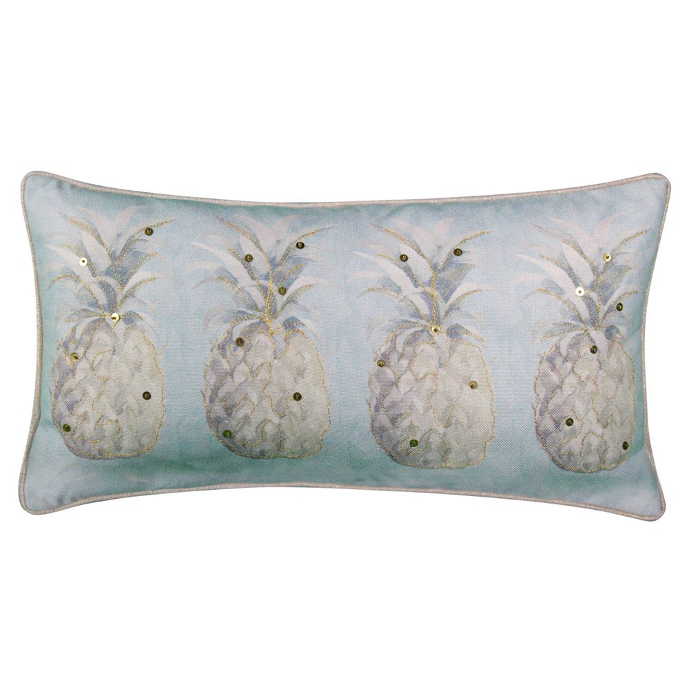"Image of ""14""""x26"""" Modern Pineapple Sequined Lumbar Pillow Seafoam - Edie@Home"""