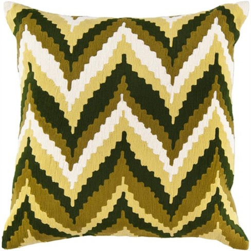 "Surya 18"" Square Chevron Indoor Throw Pillow - Brown/Green - image 1 of 1"