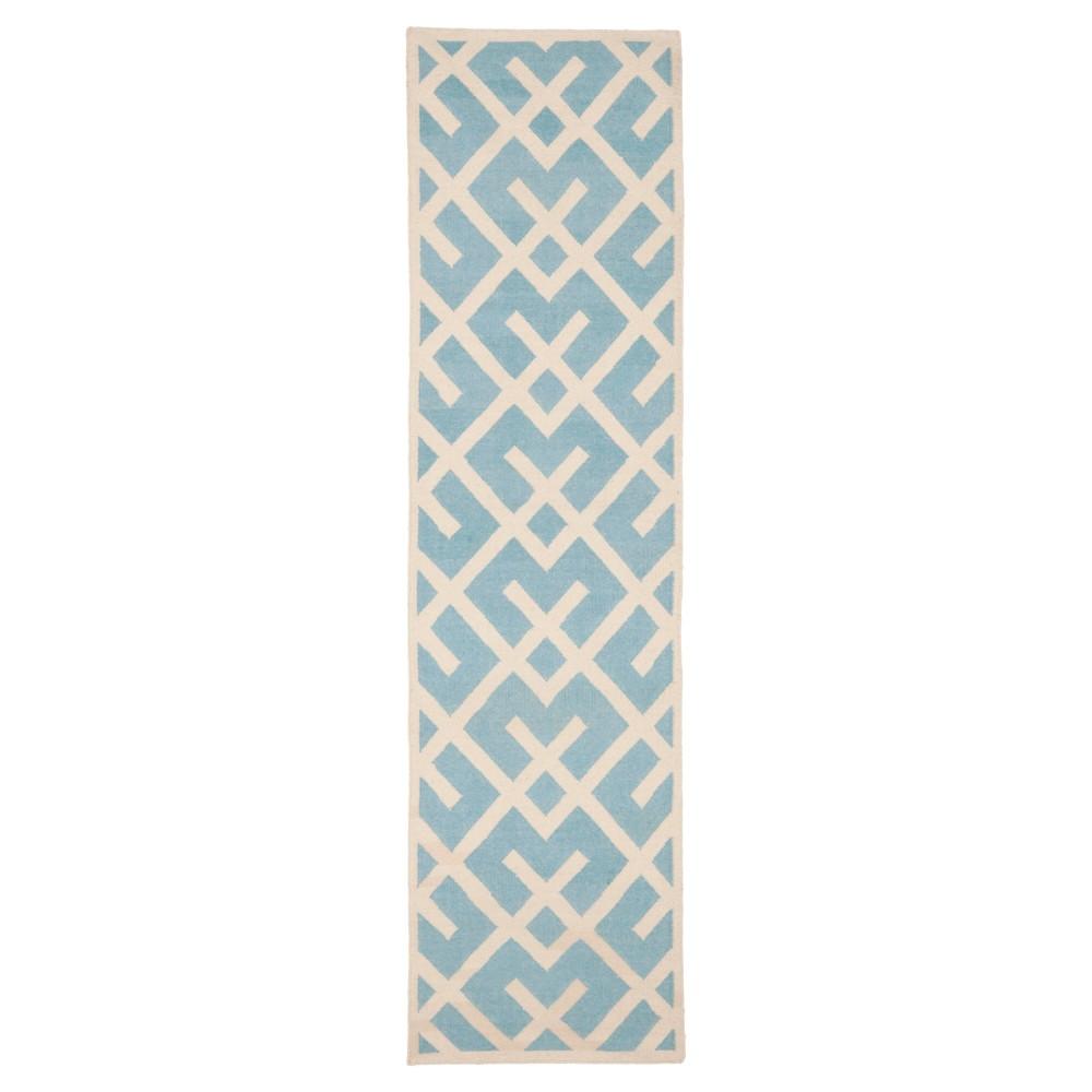 Tangier Dhurry Area Rug - Light Blue/Ivory (2'6x12') - Safavieh